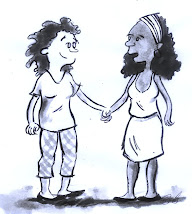 charge de um casal de mulheres