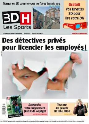 Pierwsza strona La Derniere Heure w 3D