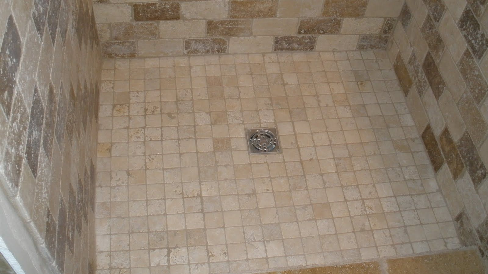 shower floor with kerdi drain tile stone by design
