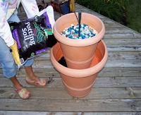 DIY garden water feature for patio garden with Ups-A-Daisy