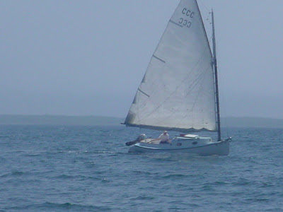 This catboat came out of the breakwater (into the wind) under sail ...