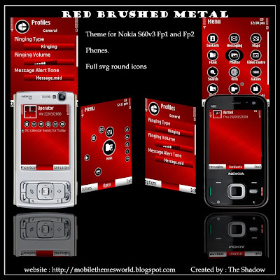 Red Brushed Metal s60v3 fp1 and fp2 theme by The Shadow