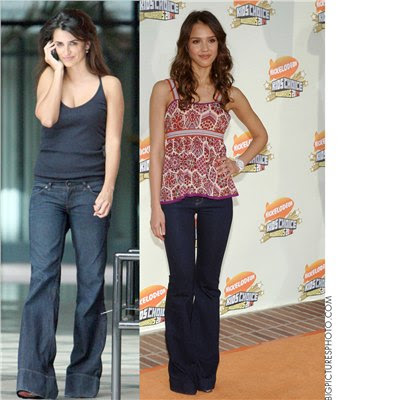 And Here is Penelope Cruz and Jessica Alba looking casual in wide leg jeans: