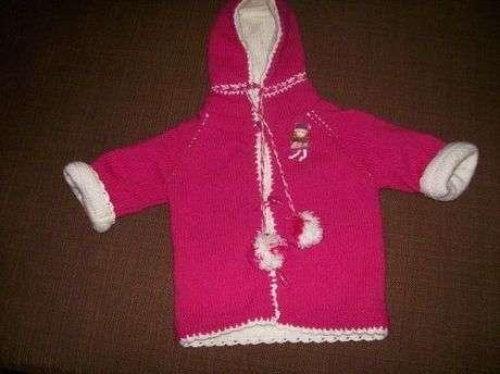 pembe+kapsonlu+bebek Bebek Kapşonlu Hırka Modelleri