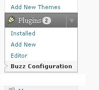 Menu where link for configuration page is displayed
