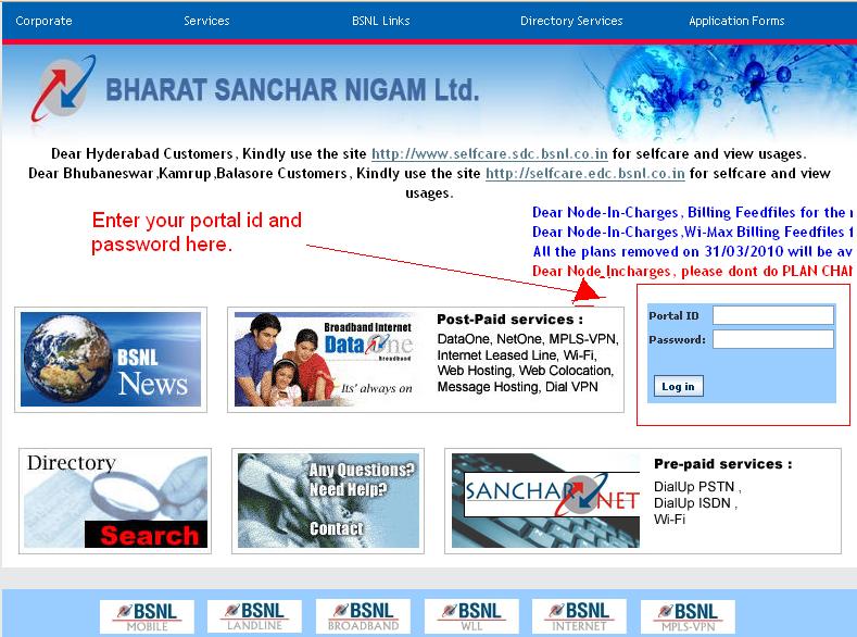 how to view bsnl broadband usage online apps directories