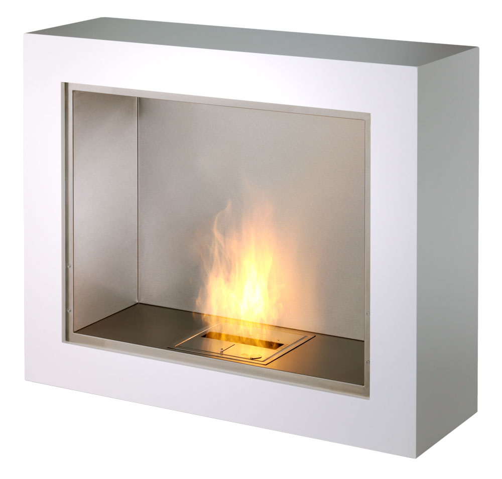 Aspect ecosmart modern ventless designer free standing for Ventless fireplace modern