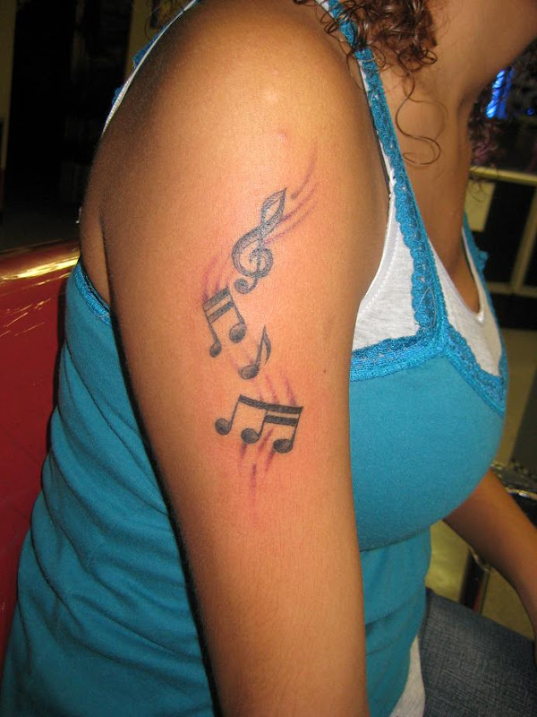 Free Music Tattoo Design Beautiful Arm music tattoo for women