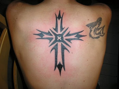 Tribal Cross back Tattoos by whodunite74