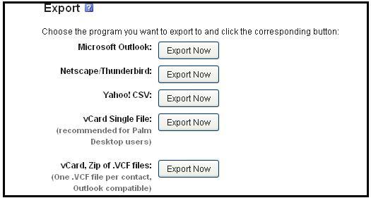 export contact via yahoo