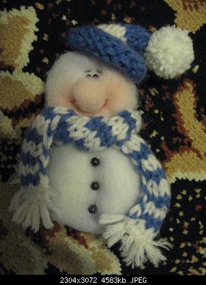 МК снеговик на открытку