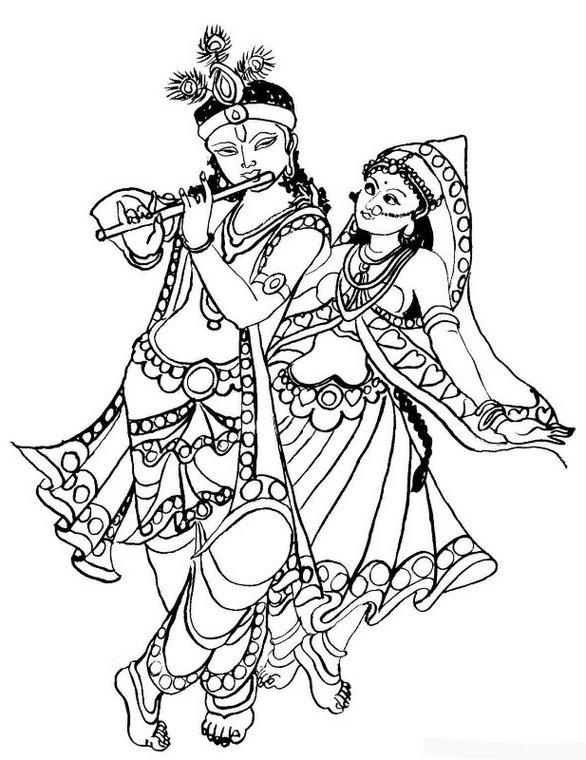 Krishna Line Drawing Cute krishna line drawing