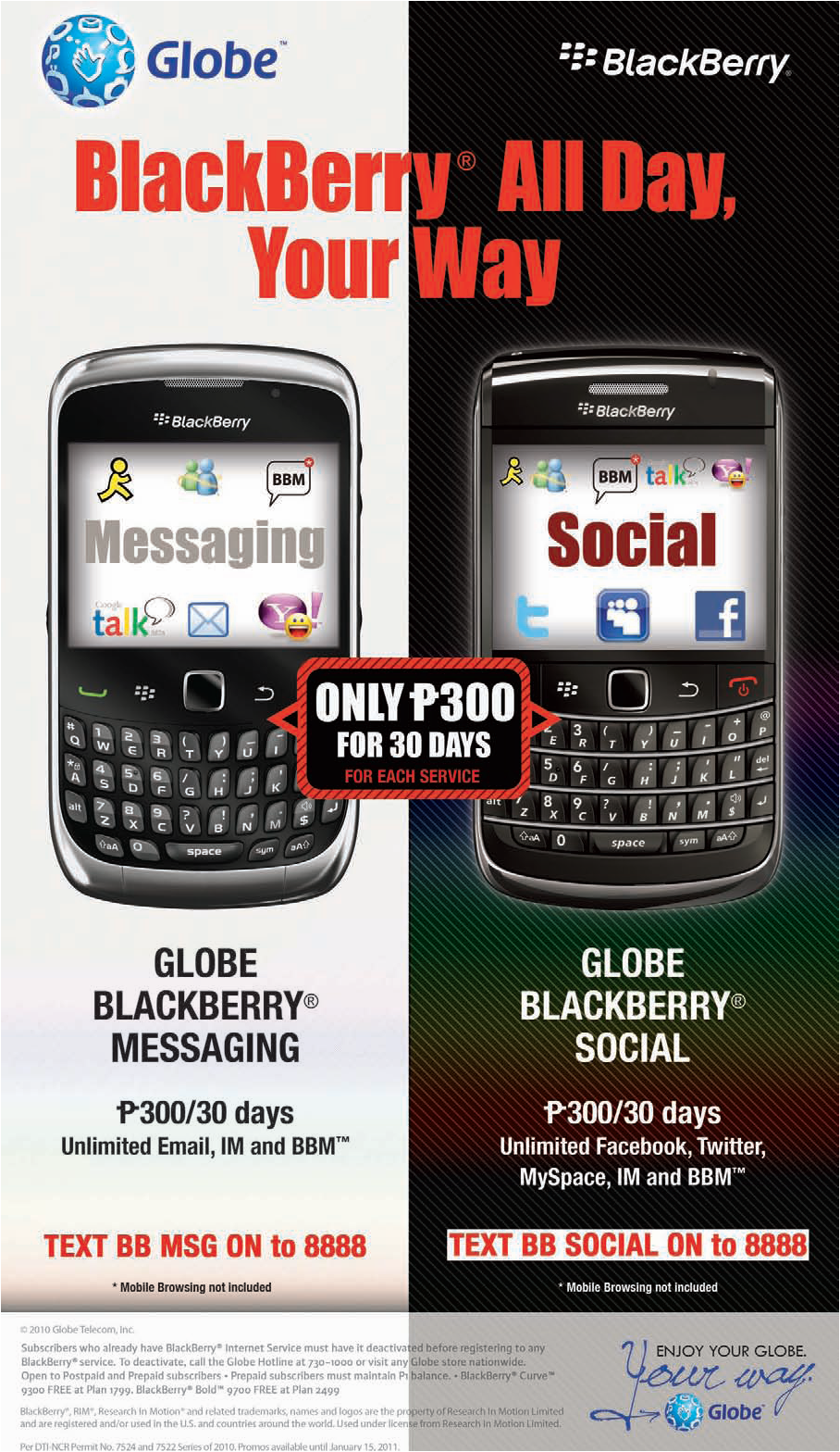 globe telecom  blackberry