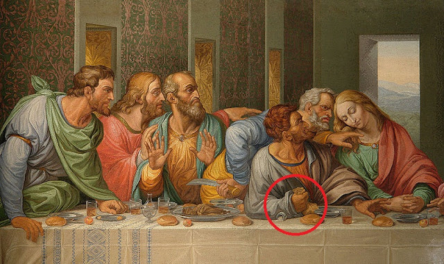 da vincisnbsppainting suppernbspyou judas iscariot knocked salt-cellar nbsp sign treachery