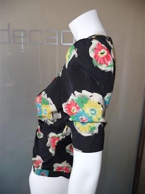 9c7b7a2929 Emanuel Ungaro Parallel black crepe blouse with floral print
