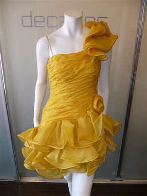 ANONYMOUS YELLOW FRENCH HAUTE COUTURE MINI DRESS IN CANARY YELLOW C