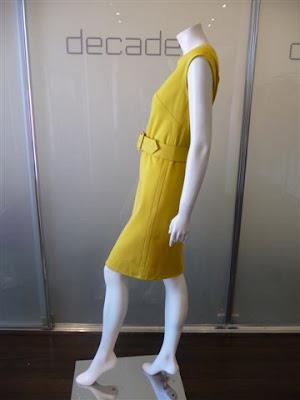 Pauline Trigere canary yellow mod dress with raw silk belt belt has
