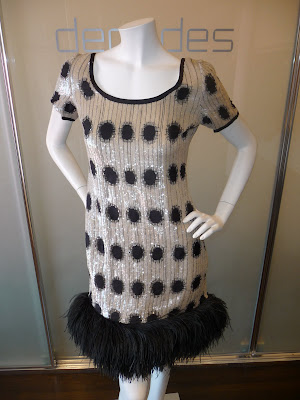 Bill Blass black embroidered and white sequin scoop neck tee-shirt dress
