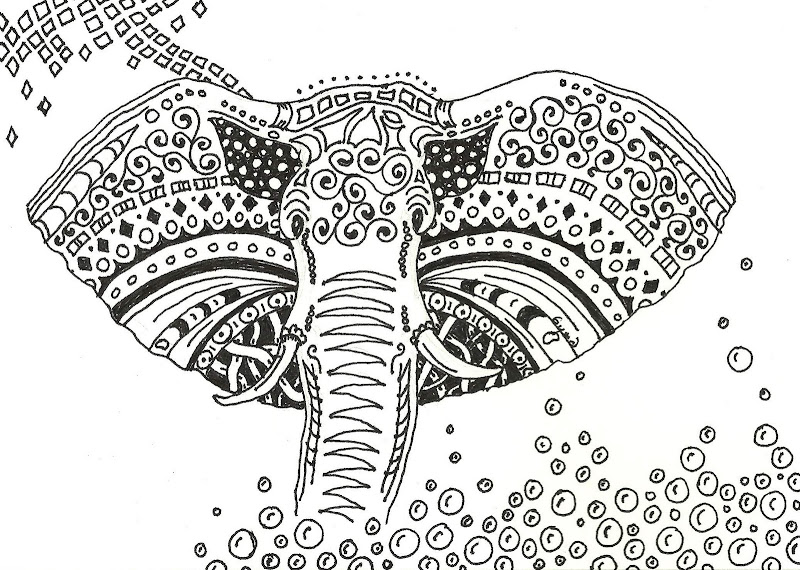 Zentangled Elephant - Art Card title=