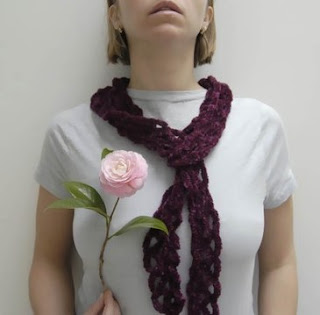 spring crocheted scarf in plum