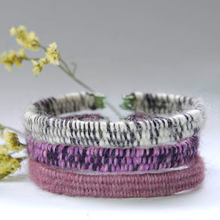 Handmade bracelets in violet, purple and lavender