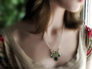 sterling silver necklace with green Quartz Agate Citrine Peridot