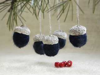 wool felted acorns blue with white cups