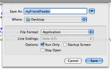 Ekran görüntüsü, AppleScript Editor'den Save kısmı