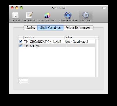 TextMate ekran görüntüsü, XHTML ayarlama