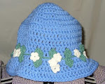 Blue Bucket Hat w/ Flower Hatband