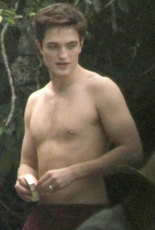 NEW PICTURES Topless Robert Pattinson films The Twilight Saga: Breaking Dawn