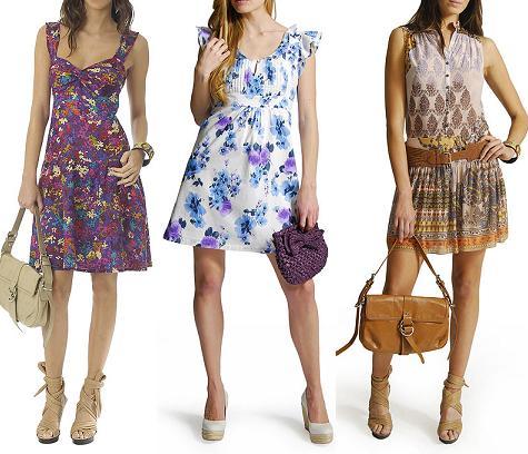 Vestido 1: vestido de verano floreado color violeta con bolso color ...