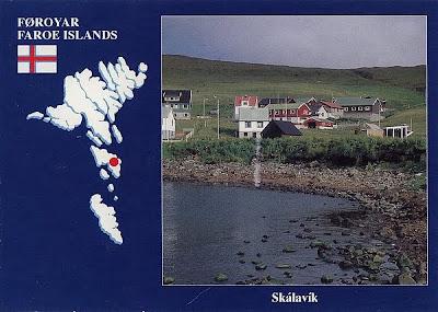 Ansichtskarte von Skálavík gestempelt in Sandur