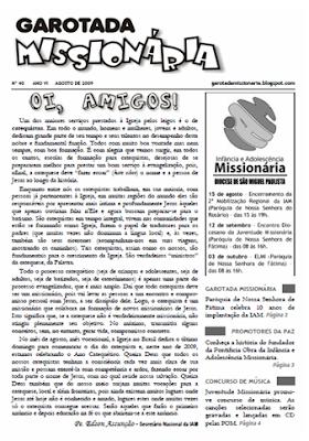 """Informativo da """"Garotada Missionária"""". Edição nº40 - Agosto de 2009."""