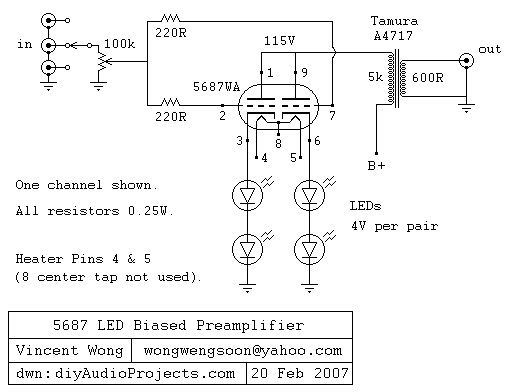 Tube Preamplifier 5687 Led Biased Circuit