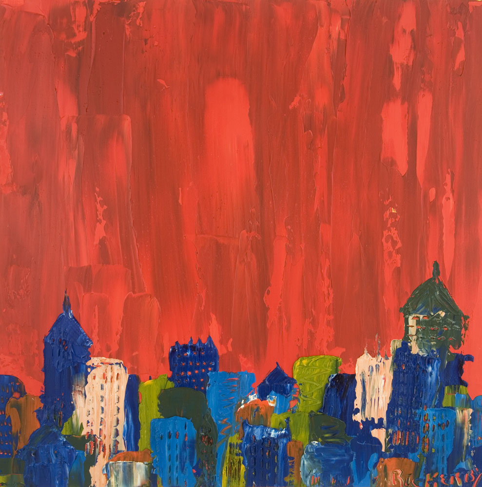 Contemporary Abstract Expressionist Oil Painting by Brad Rickerby Cityscape