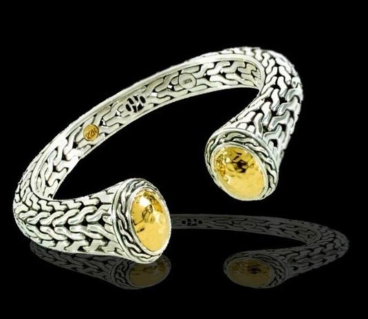 John Hard Palu Collection 22k Hammered Gold Silver Bracelet Oval Kick Cuff 950 00