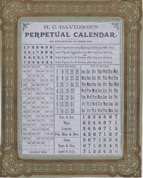 A beautiful form of H C 's calendar