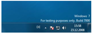 Windows 7 Beta watermark 'For testing purposes only'