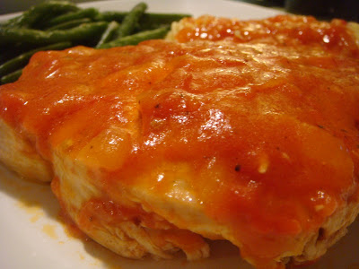swordfish topped with tomato sauce