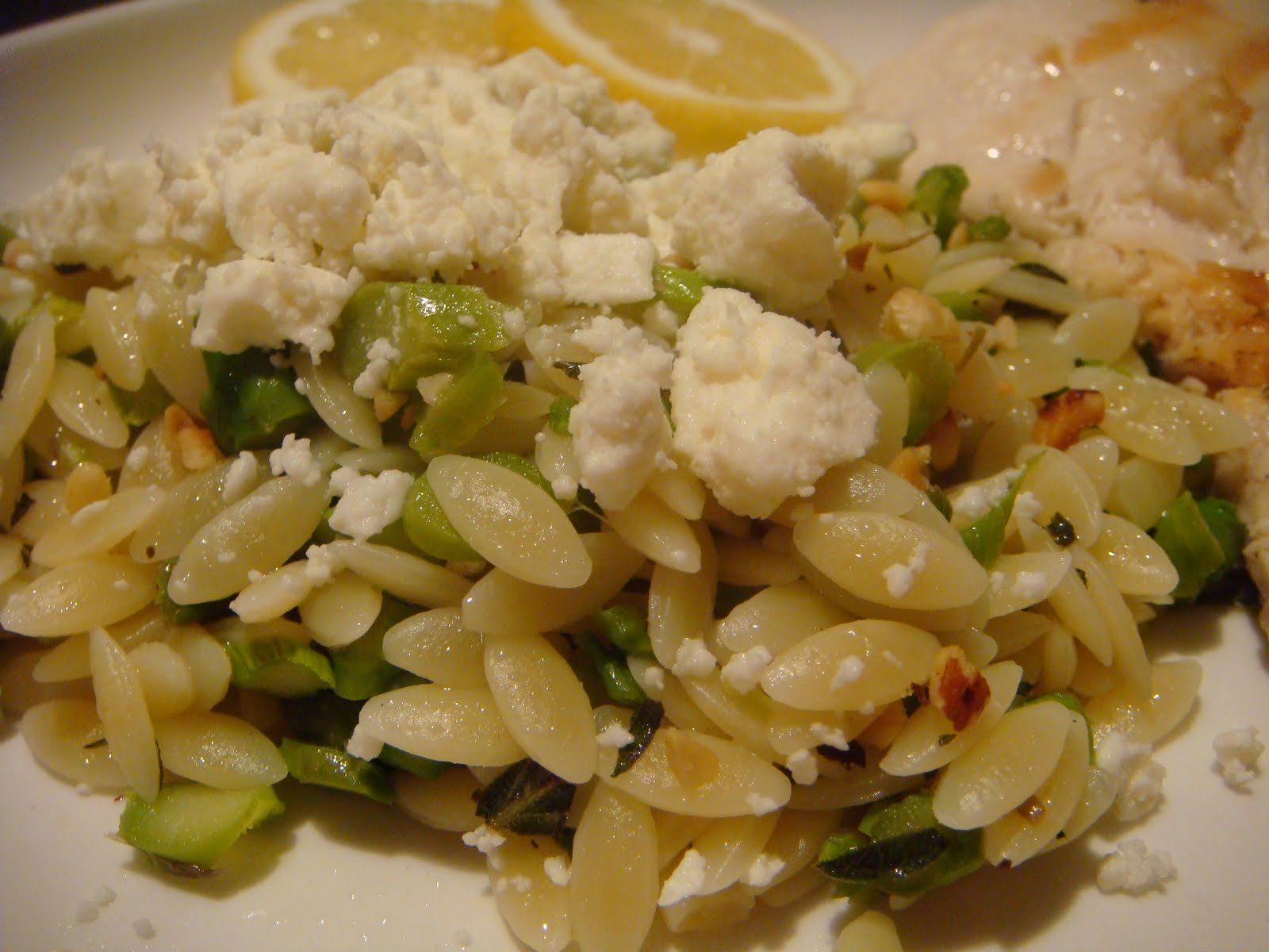 Delicious Dishings: Lemon-Oregano Grilled Chicken With Feta And Orzo