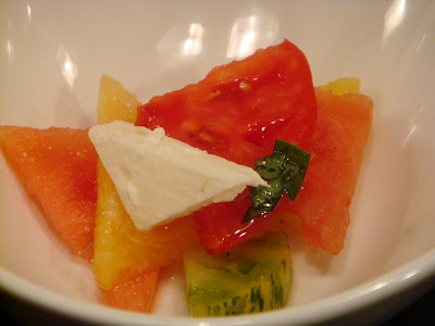 Watermelon, feta, and heirloom tomato salad