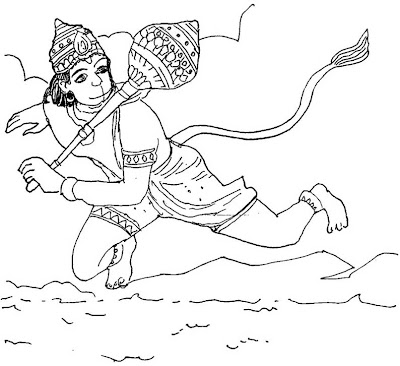 Colouring - Anjaneya Swamy Images for Painting | Hindu Devotional Blog