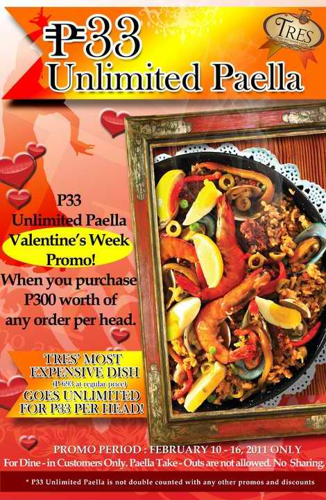 Fresh promos tres cuisine unlimited paella php33 for Cuisine unlimited