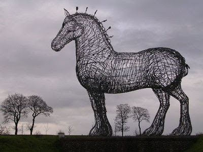 a dreary horse sculpture by Andy Scott