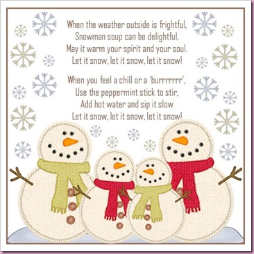 Lively image with snowman soup printable tag