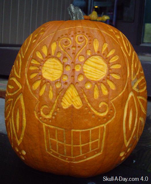 Dia de la abby pumpkin skull