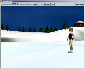 Screenshot of an animated character wearing ice skates on a frozen winter pond outdoors