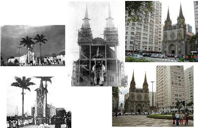 Montagem sobre fotos de como era a Igreja do Embaré em 1922 e nos dias atuais