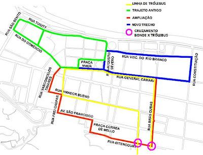 Mapa do centro de Santos com linhas de bondes - arte sobre imagem da Prefeitura Municipal de Santos